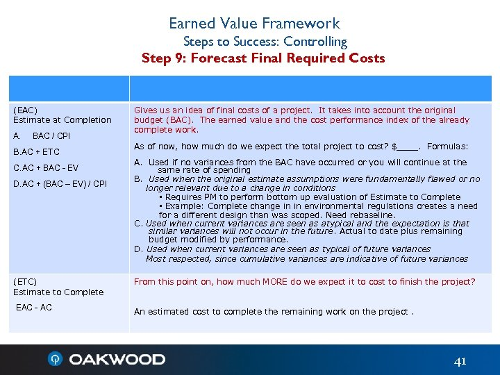 Earned Value Framework Steps to Success: Controlling Step 9: Forecast Final Required Costs (EAC)