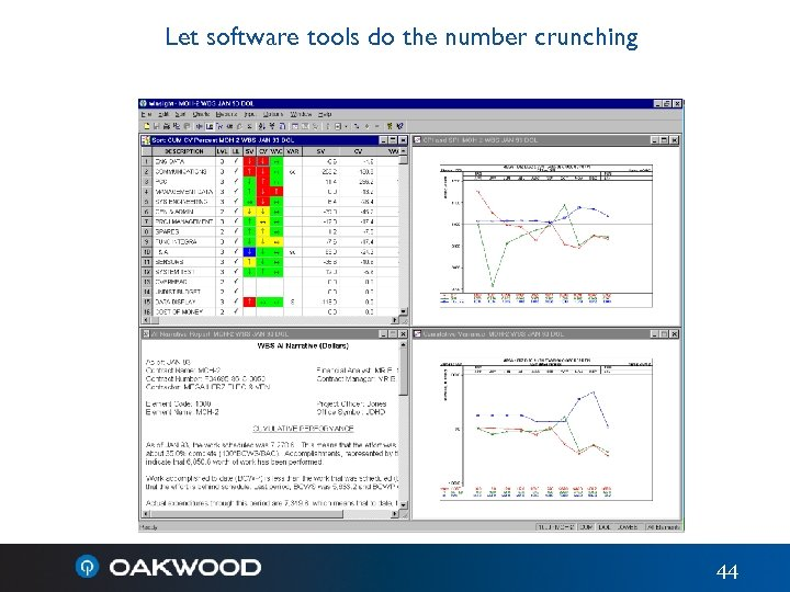 Let software tools do the number crunching 44