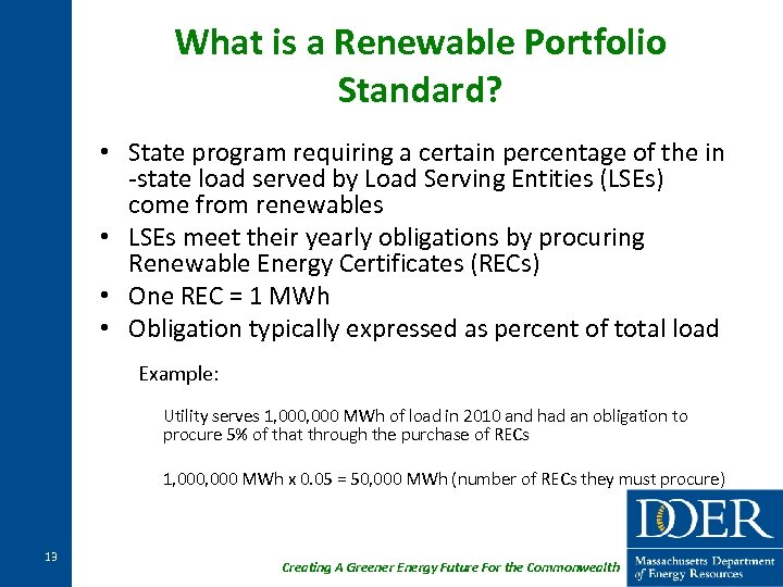 What is a Renewable Portfolio Standard? • State program requiring a certain percentage of
