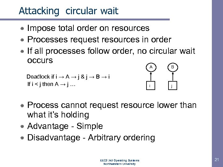 Attacking circular wait Impose total order on resources Processes request resources in order If
