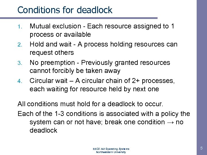 Conditions for deadlock 1. 2. 3. 4. Mutual exclusion - Each resource assigned to