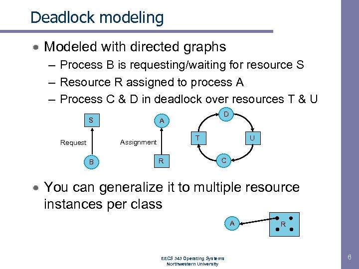 Deadlock modeling Modeled with directed graphs – Process B is requesting/waiting for resource S