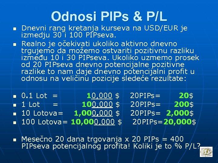 Odnosi PIPs & P/L n n n n Dnevni rang kretanja kurseva na USD/EUR