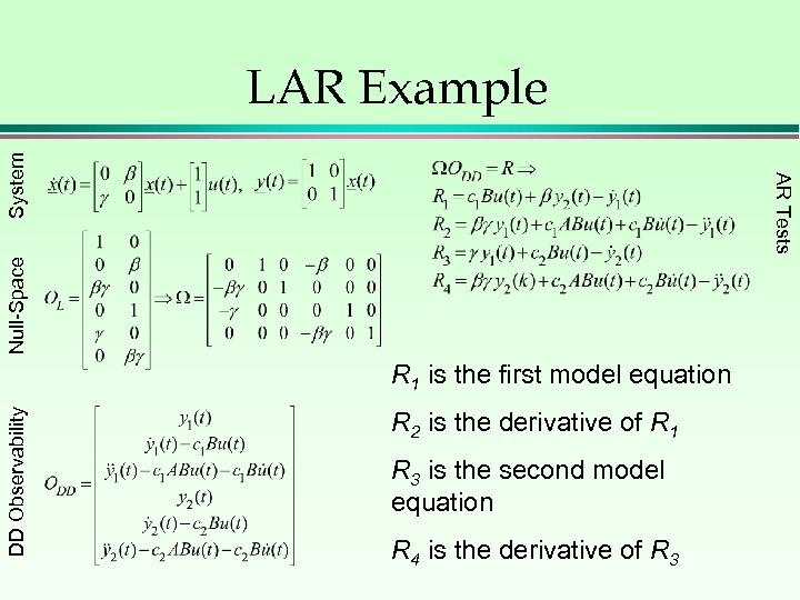 Null-Space AR Tests System LAR Example DD Observability R 1 is the first model