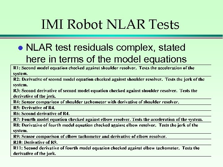 IMI Robot NLAR Tests l NLAR test residuals complex, stated here in terms of