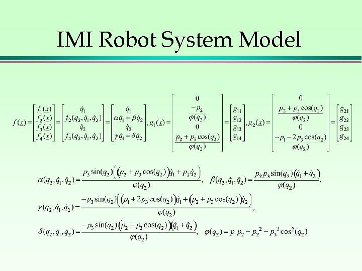 IMI Robot System Model