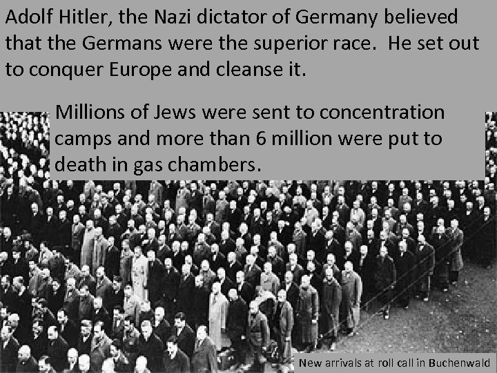 Adolf Hitler, the Nazi dictator of Germany believed that the Germans were the superior