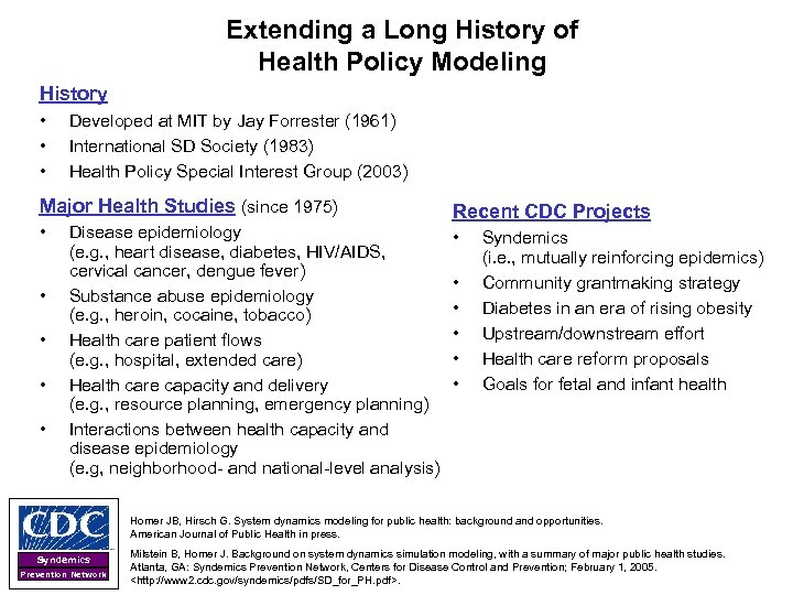 Extending a Long History of Health Policy Modeling History • • • Developed at