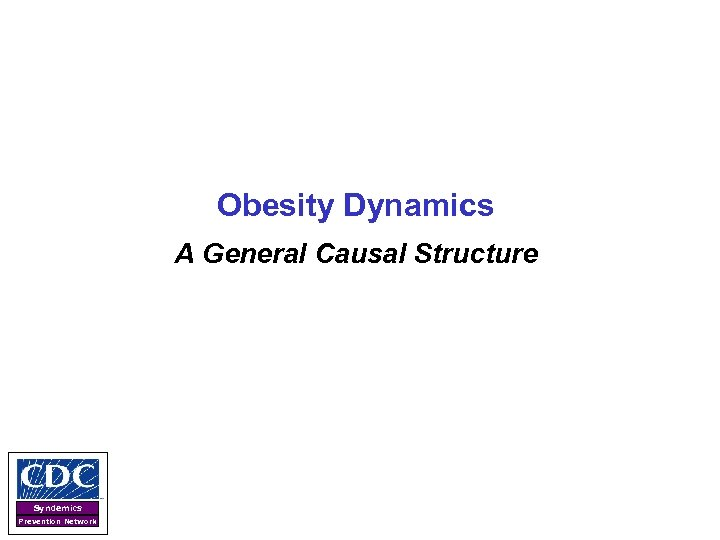 Obesity Dynamics A General Causal Structure Syndemics Prevention Network