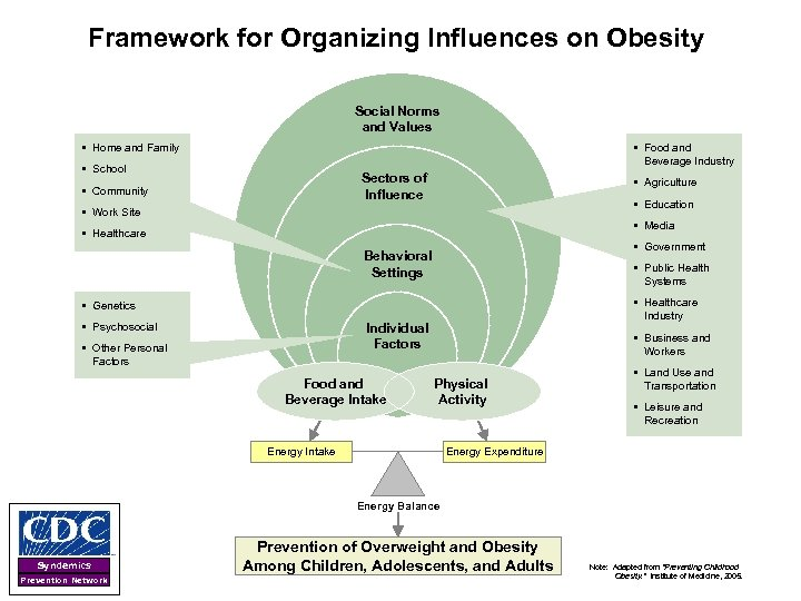 Framework for Organizing Influences on Obesity Social Norms and Values § Home and Family