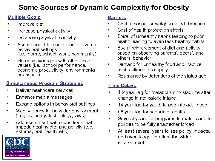 Some Sources of Dynamic Complexity for Obesity Multiple Goals • Improve diet • Increase