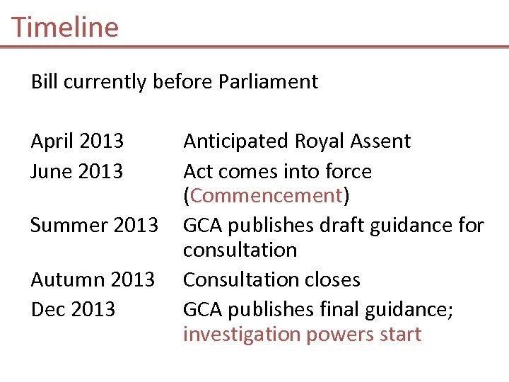 Timeline Bill currently before Parliament April 2013 June 2013 Summer 2013 Autumn 2013 Dec