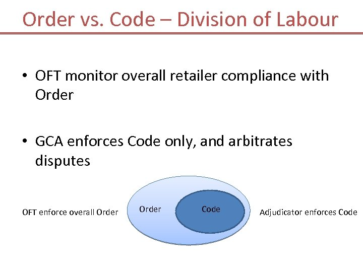 Order vs. Code – Division of Labour • OFT monitor overall retailer compliance with