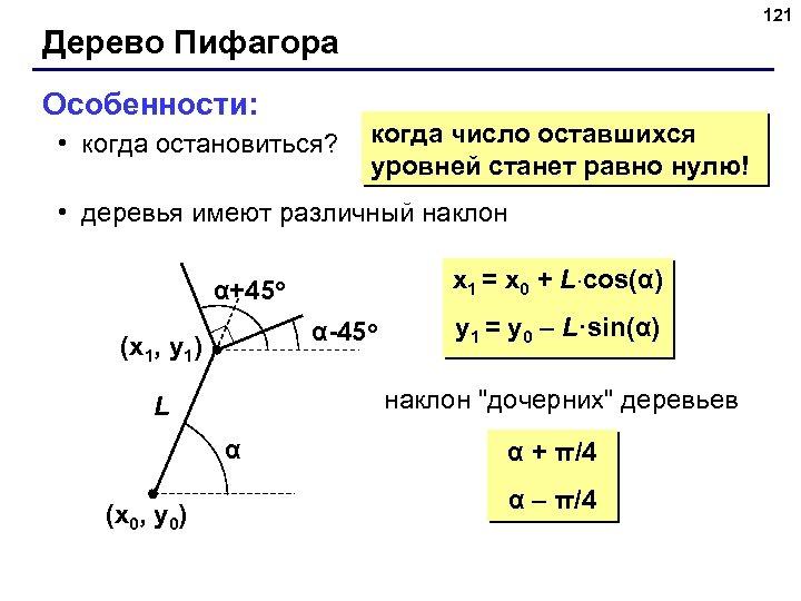 121 Дерево Пифагора Особенности: • когда остановиться? когда число оставшихся уровней станет равно нулю!