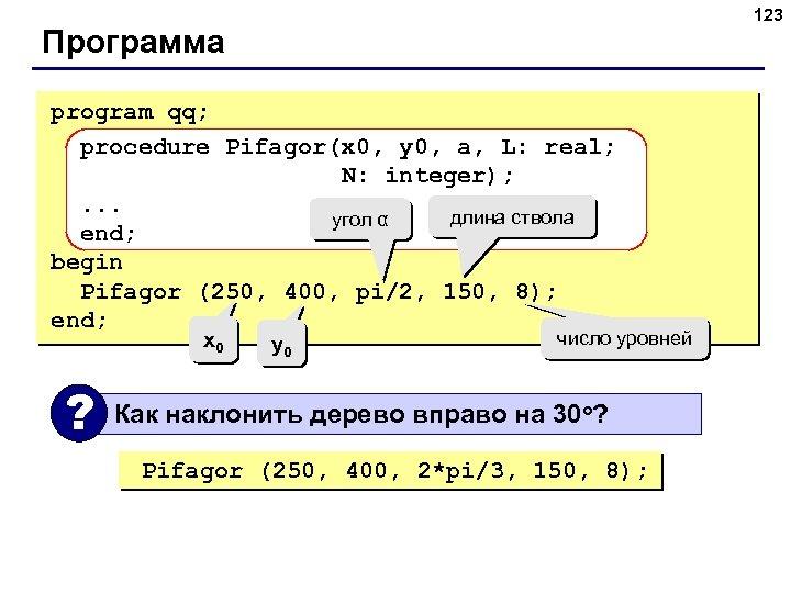 123 Программа program qq; procedure Pifagor(x 0, y 0, a, L: real; N: integer);