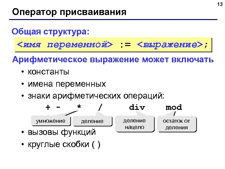 13 Оператор присваивания Общая структура: <имя переменной> : = <выражение>; Арифметическое выражение может включать