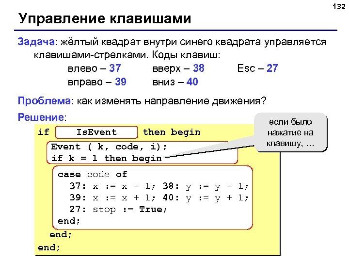 132 Управление клавишами Задача: жёлтый квадрат внутри синего квадрата управляется клавишами-стрелками. Коды клавиш: влево