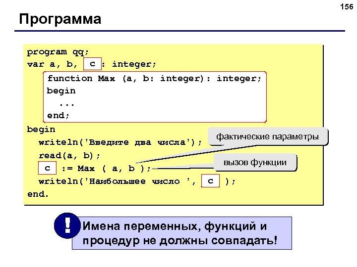Программа program qq; c var a, b, max: integer; function Max (a, b: integer):