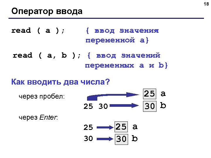 18 Оператор ввода read ( a ); { ввод значения переменной a} read (