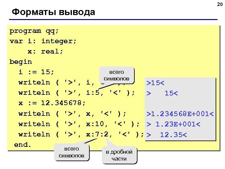 20 Форматы вывода program qq; var i: integer; x: real; begin всего i :