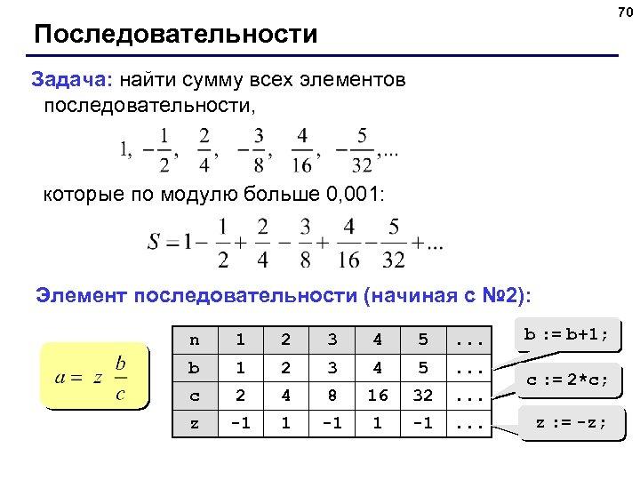 70 Последовательности Задача: найти сумму всех элементов последовательности, которые по модулю больше 0, 001: