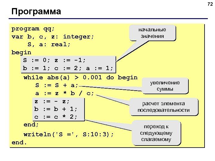 72 Программа program qq; начальные значения var b, c, z: integer; S, a: real;