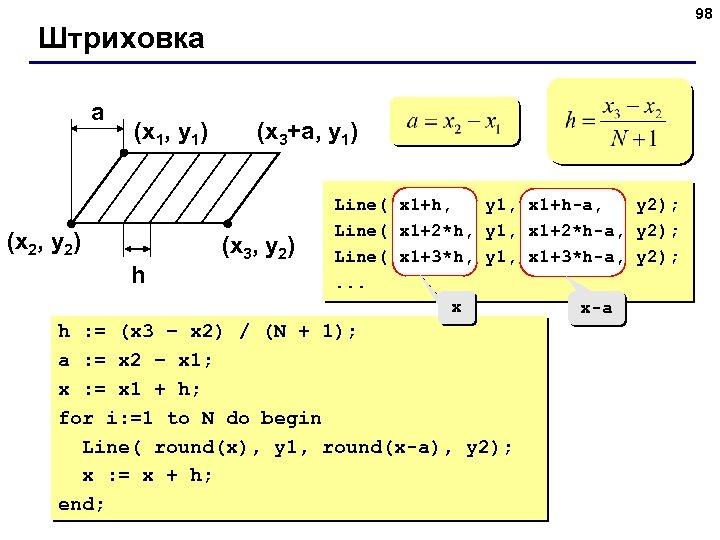 98 Штриховка a (x 1, y 1) (x 2, y 2) h (x 3+a,