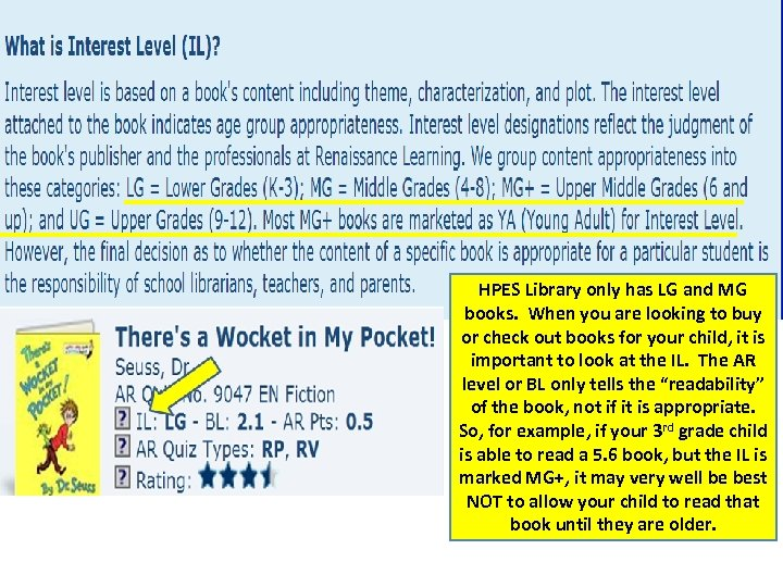 HPES Library only has LG and MG books. When you are looking to buy