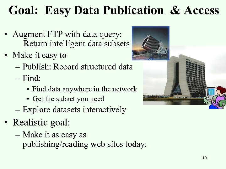 Goal: Easy Data Publication & Access • Augment FTP with data query: Return intelligent