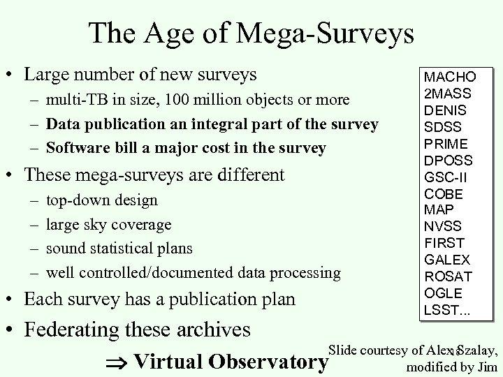 The Age of Mega-Surveys • Large number of new surveys – multi-TB in size,