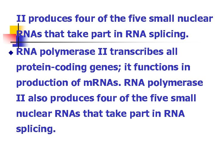 II produces four of the five small nuclear RNAs that take part in RNA