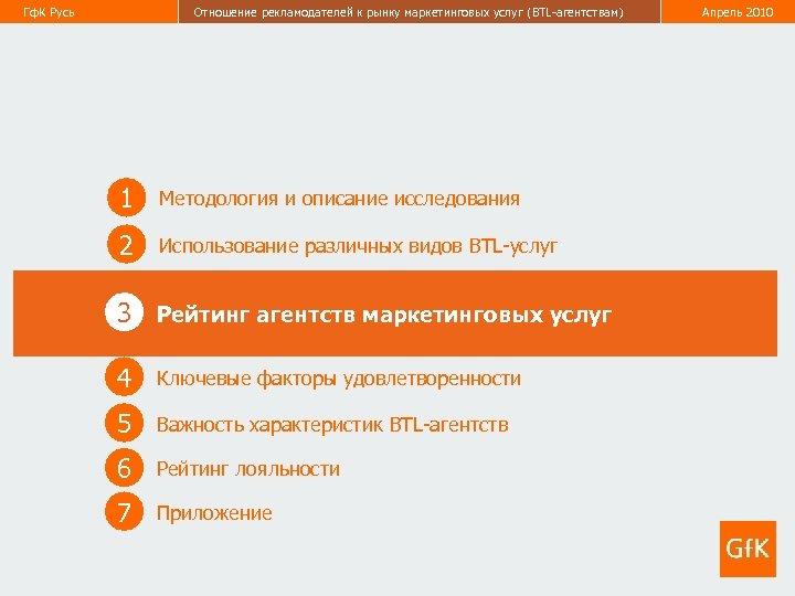 Гф. К Русь Отношение рекламодателей к рынку маркетинговых услуг (BTL-агентствам) Апрель 2010 12 1