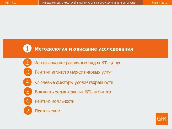 Гф. К Русь Отношение рекламодателей к рынку маркетинговых услуг (BTL-агентствам) Апрель 2010 3 1