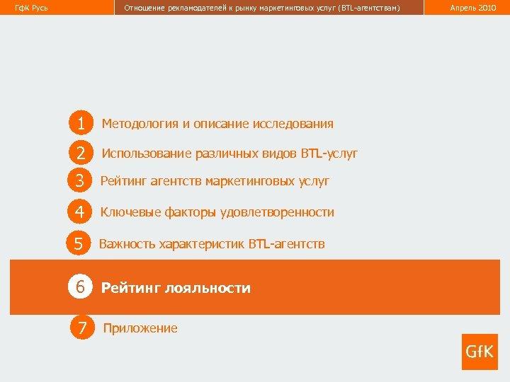 Гф. К Русь Отношение рекламодателей к рынку маркетинговых услуг (BTL-агентствам) Апрель 2010 43 1