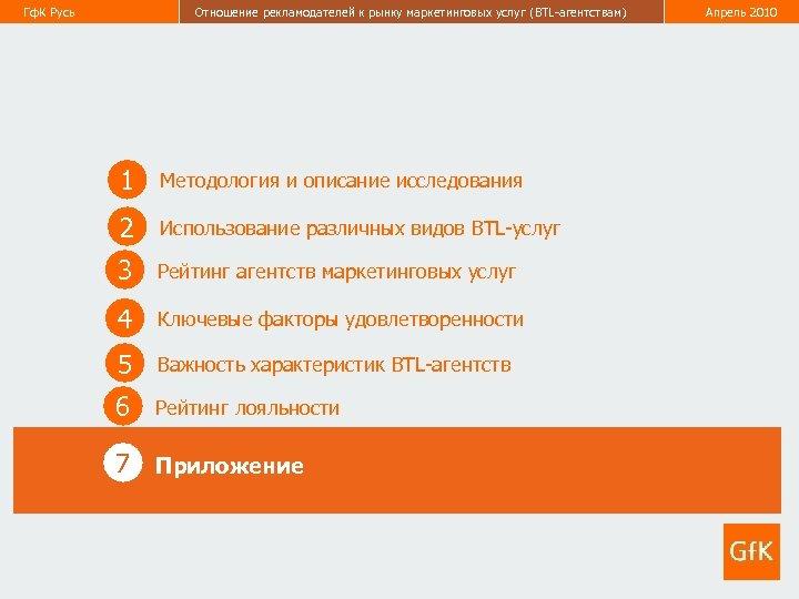 Гф. К Русь Отношение рекламодателей к рынку маркетинговых услуг (BTL-агентствам) Апрель 2010 49 1