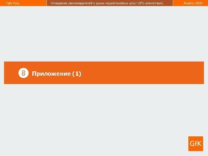 Гф. К Русь Отношение рекламодателей к рынку маркетинговых услуг (BTL-агентствам) Апрель 2010 50 8