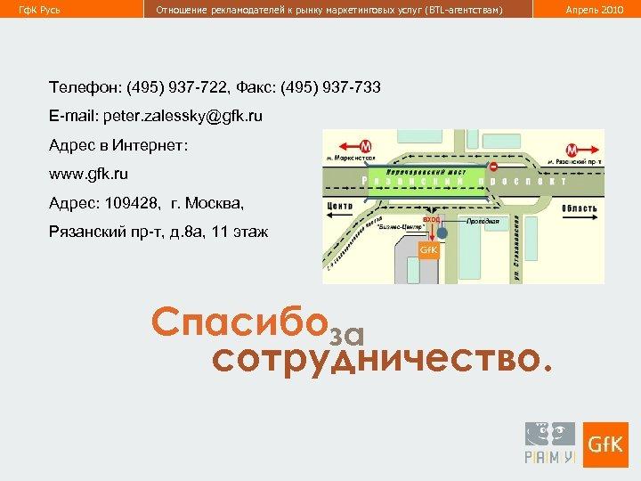 Гф. К Русь Отношение рекламодателей к рынку маркетинговых услуг (BTL-агентствам) Телефон: (495) 937 -722,