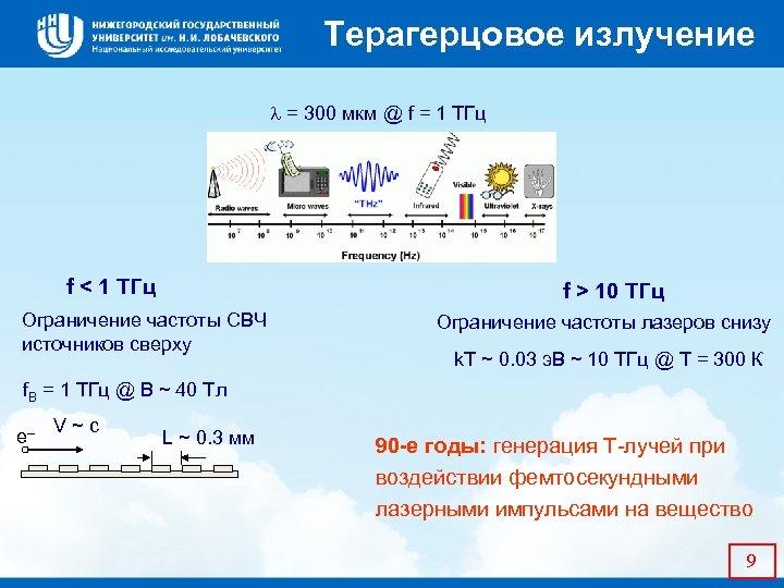 Терагерцовое излучение = 300 мкм @ f = 1 ТГц f < 1 ТГц