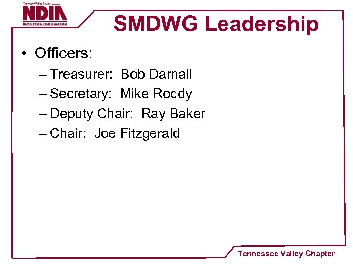 SMDWG Leadership • Officers: – Treasurer: Bob Darnall – Secretary: Mike Roddy – Deputy