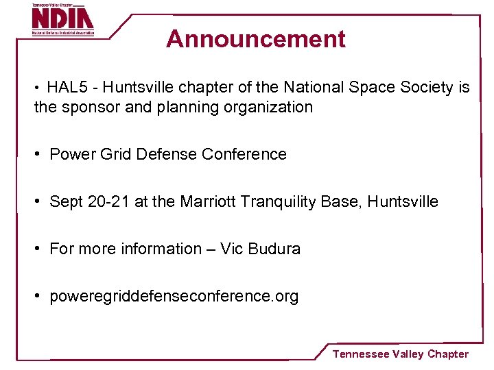 Announcement • HAL 5 - Huntsville chapter of the National Space Society is the