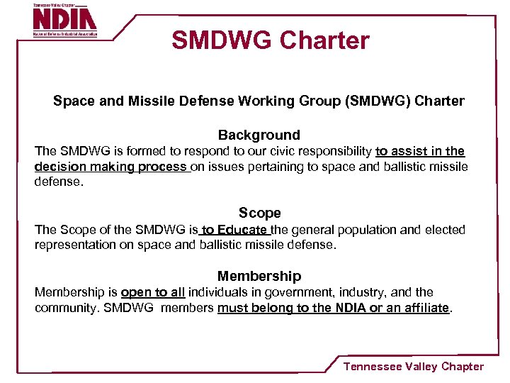 SMDWG Charter Space and Missile Defense Working Group (SMDWG) Charter Background The SMDWG is