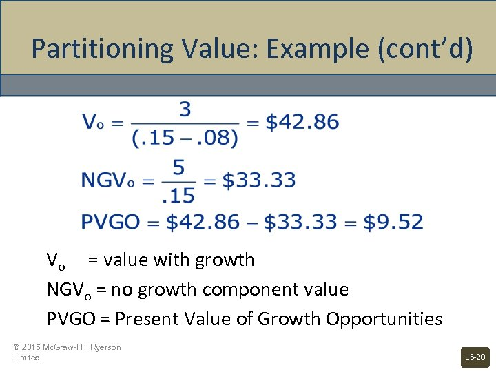 Partitioning Value: Example (cont'd) Vo = value with growth NGVo = no growth component