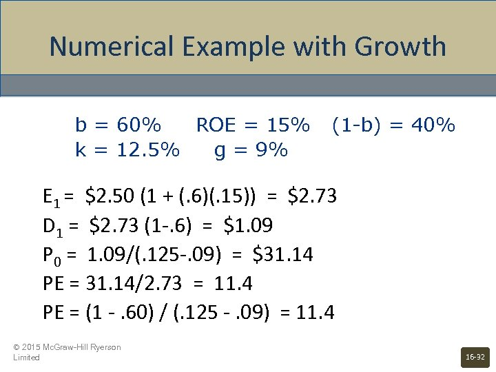 Numerical Example with Growth b = 60% ROE = 15% k = 12. 5%