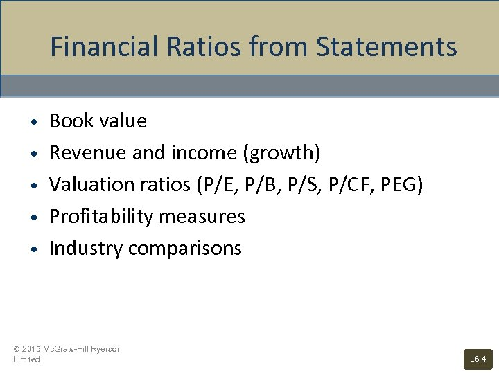 Financial Ratios from Statements • • • Book value Revenue and income (growth) Valuation