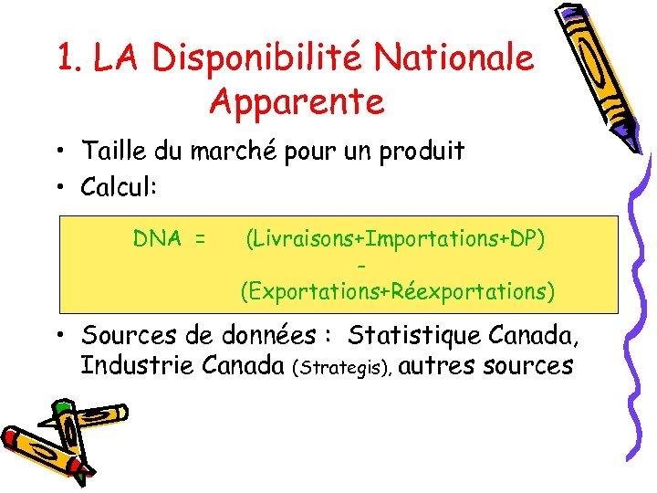 1. LA Disponibilité Nationale Apparente • Taille du marché pour un produit • Calcul: