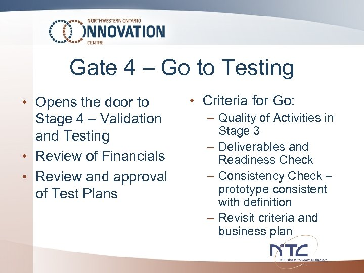 Gate 4 – Go to Testing • Opens the door to Stage 4 –