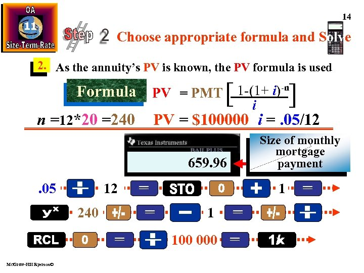 14 11 Choose appropriate formula and Solve 2. As the annuity's PV is known,
