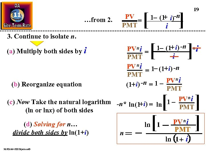 11 …from 2. 3. Continue to isolate n. (a) Multiply both sides by i