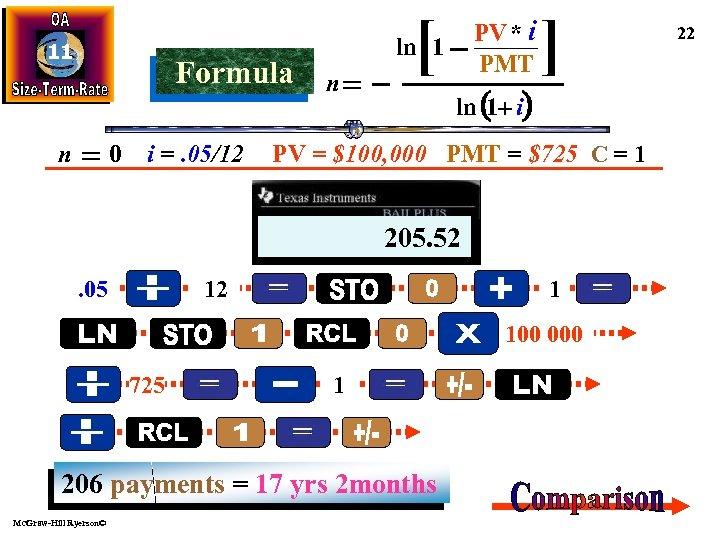 11 Formula n 0 i =. 05/12 [ PV * i PMT ln 1