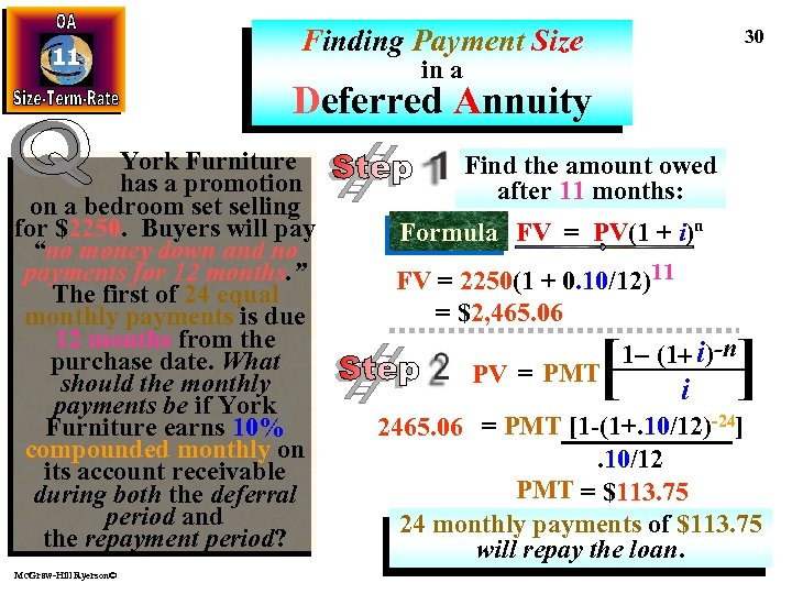 11 Finding Payment Size 30 in a Deferred Annuity York Furniture has a promotion
